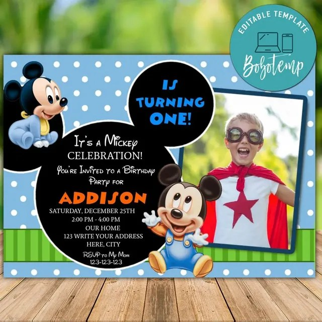 editable mickey mouse 1st birthday invitation instant download
