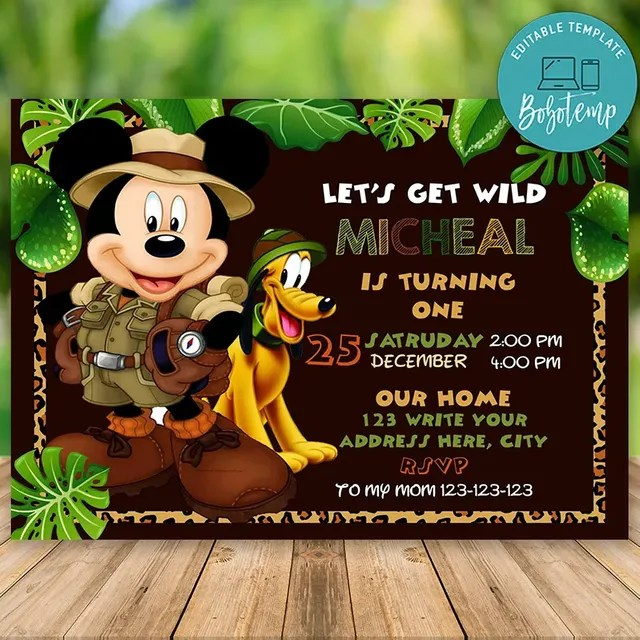 editable mickey mouse 1st birthday invitations instant download