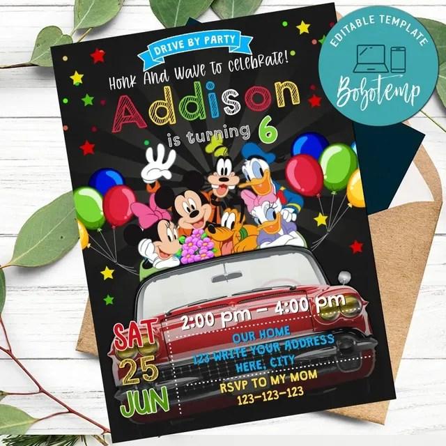mickey mouse drive by birthday parade invitation diy