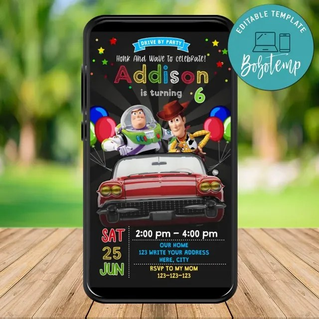 mobile toy story 4 drive by birthday parade evite invitation