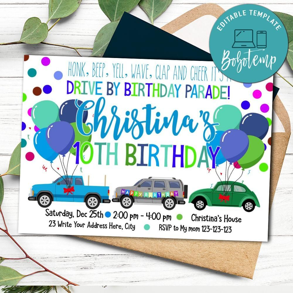 printable drive by parade birthday invitation instant download