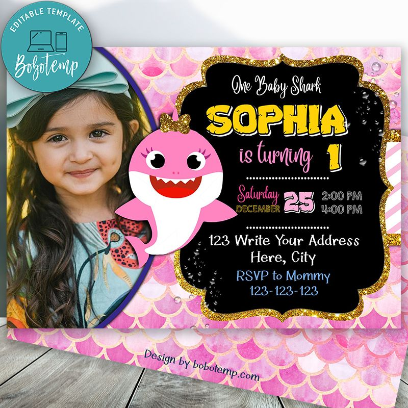 editable baby shark birthday party for girl with photo diy