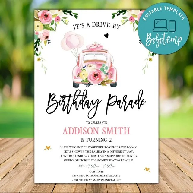 pink drive by birthday parade invitation free thank you card