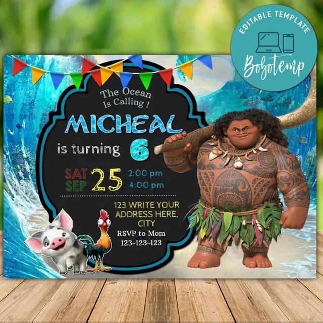editable maui moana birthday invitation instant download