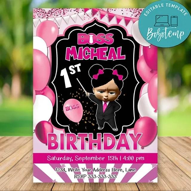 editable african american boss baby girl birthday invitation diy