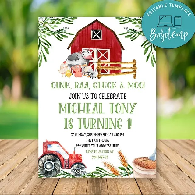 editable boy farm birthday invitations instant download