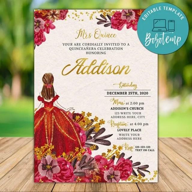 printable quinceanera mexican fiesta birthday invitations diy