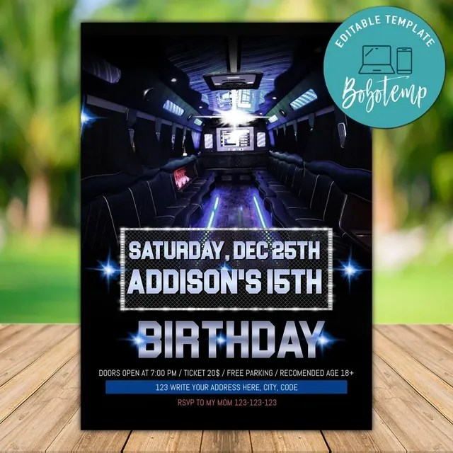 editable party bus birthday invitation instant download