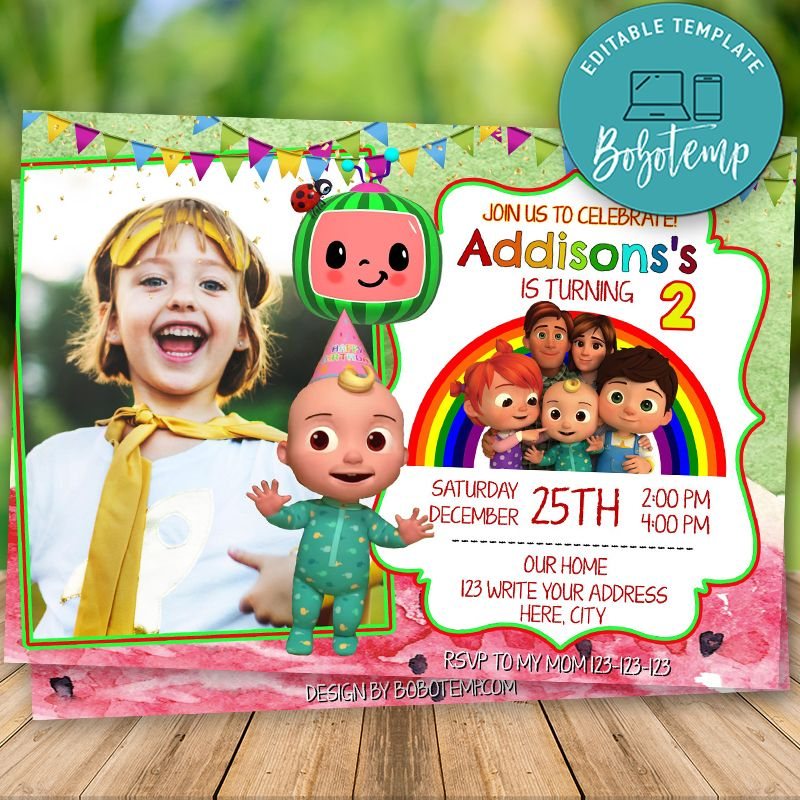 editable cocomelon little baby birthday invitation with photo
