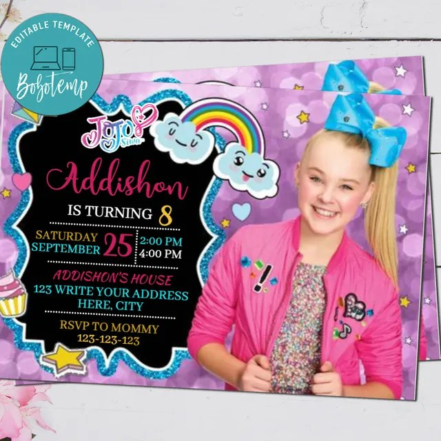 jojo siwa birthday party invitation digital file