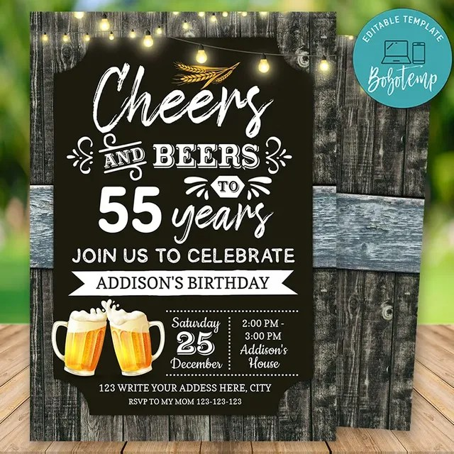 printable 55th cheers and beers birthday party invitation diy