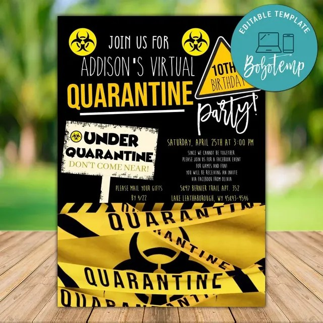 printable quarantine birthday party invitation instant download