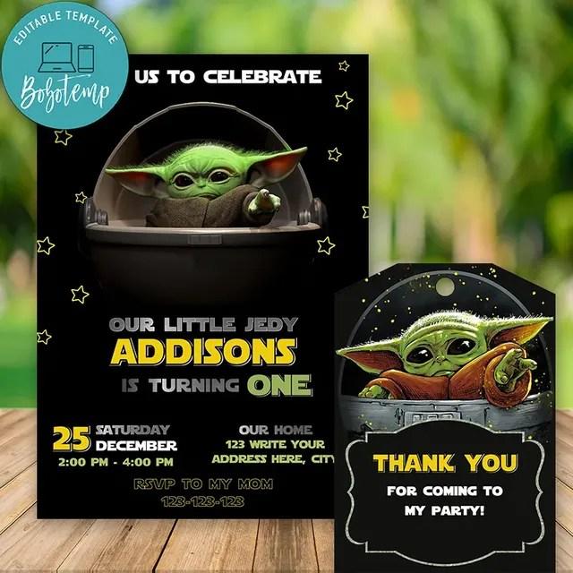 editable star war baby yoda birthday invitation free thank you