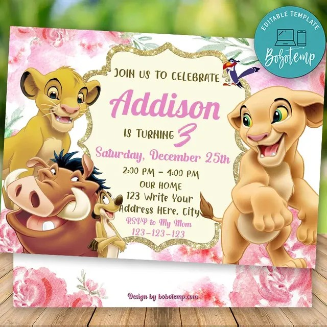 editable nala lion king party invitations instant download