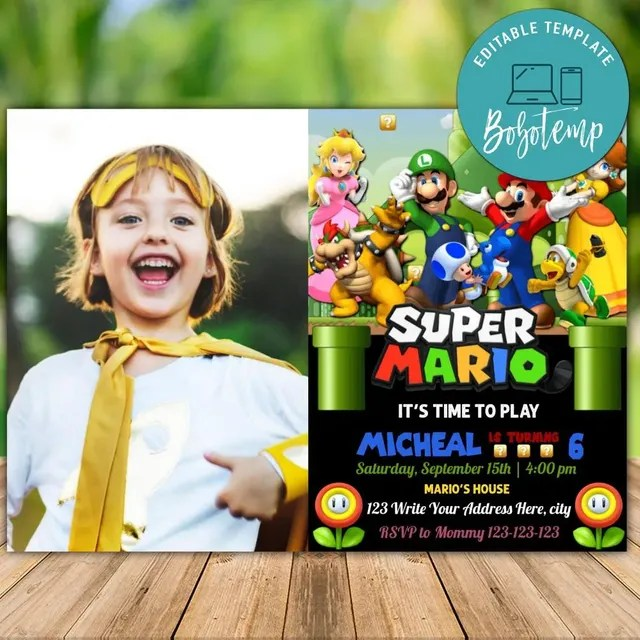 super mario birthday invitation with photo digital invitation diy