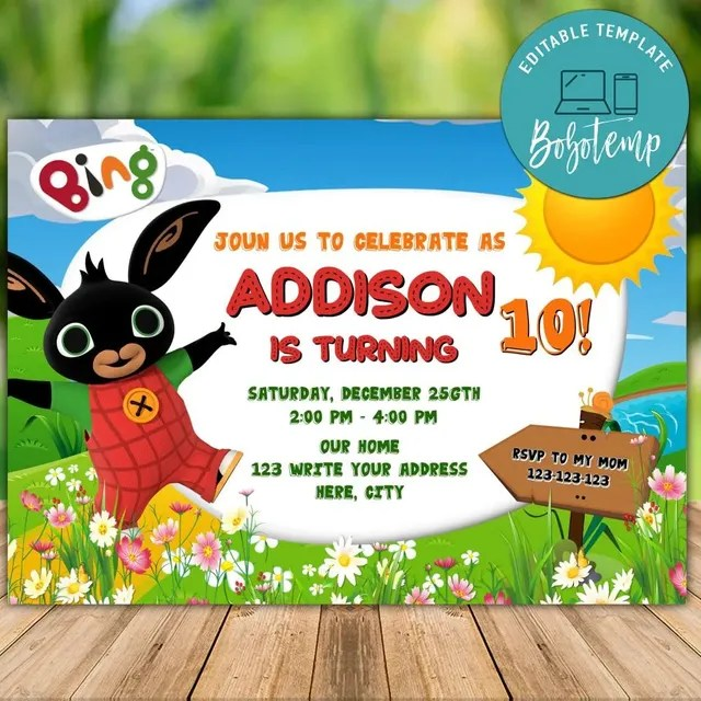 printable bing bunny birthday invitation instant download