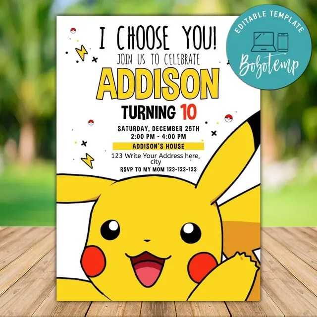 printable pokemon go birthday invitation and free thank you card