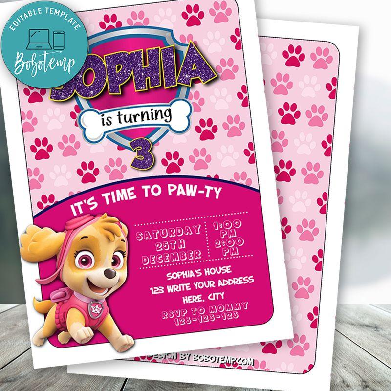 editable skye paw patrol birthday invitations instant download