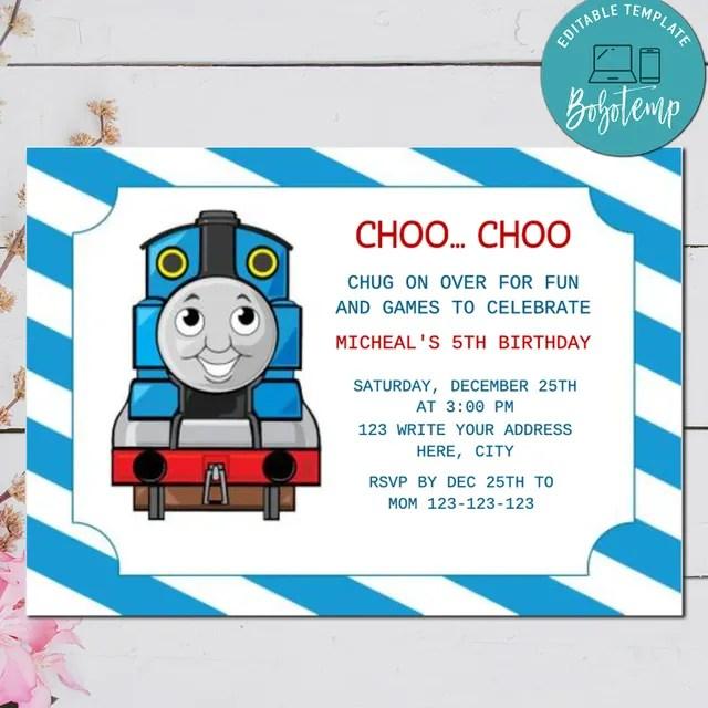 editable thomas the tank engine birthday invitation digital file