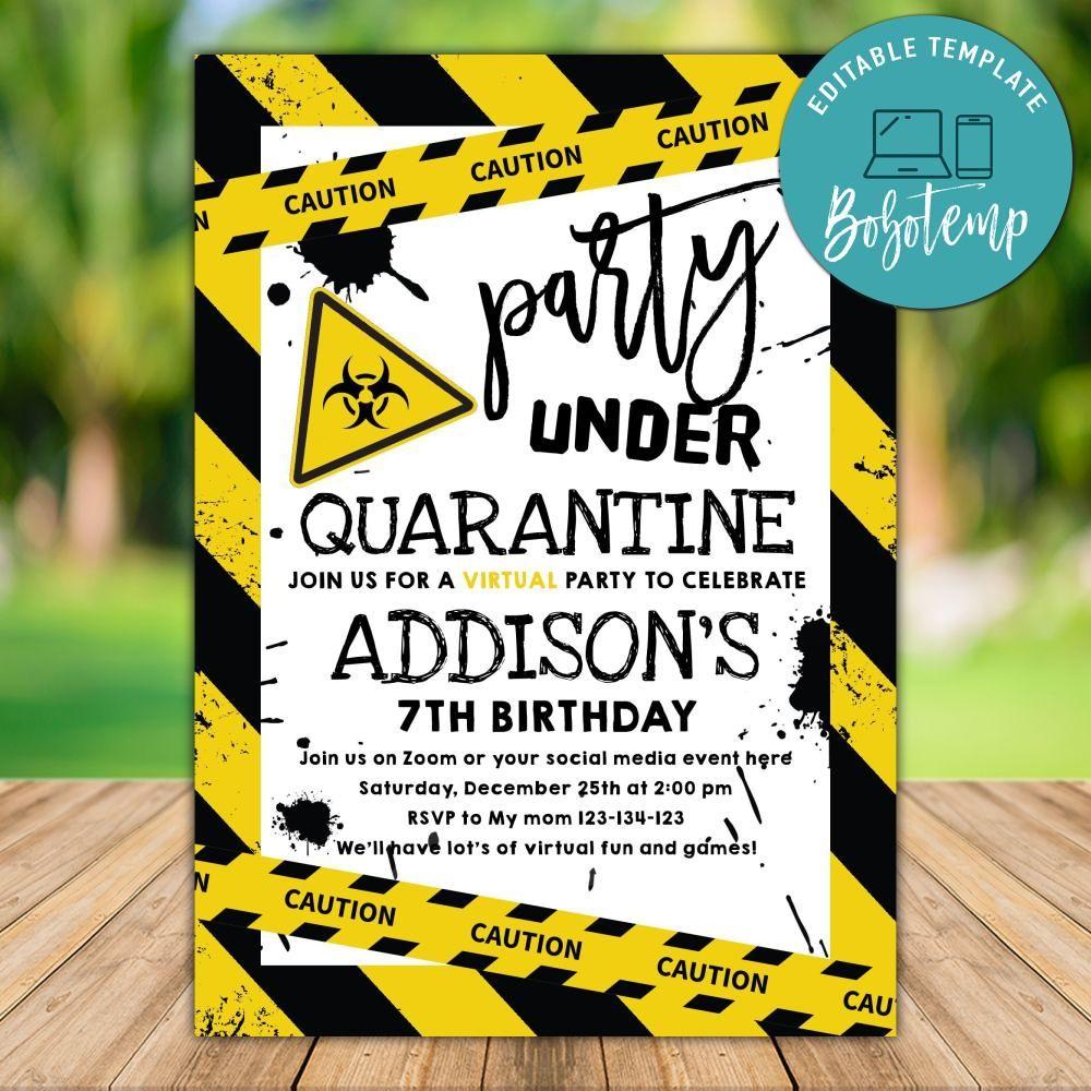 printable 7th birthday quarantine invites template diy