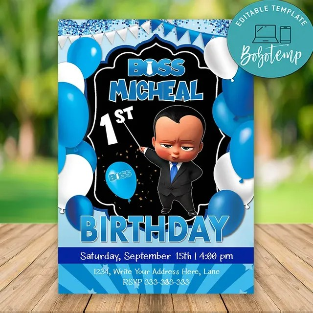 editable african american boss baby boy birthday invitations