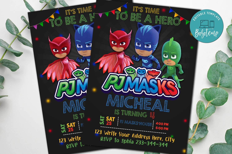 pj masks party invitation pj masks superheros invitation diy