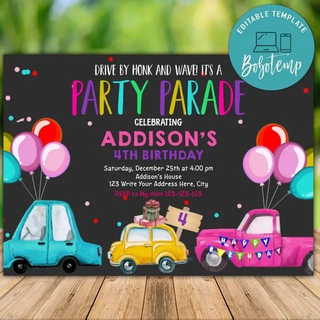 printable drive by pink birthday parade invitation free thank tag