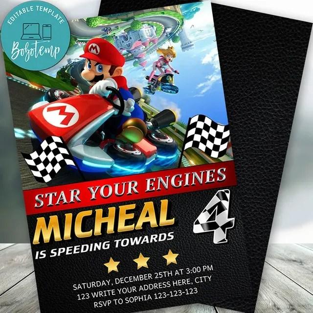 custom mario kart birthday invitation instant download
