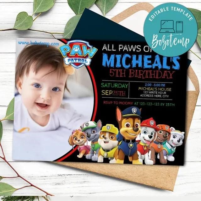paw patrol birthday invitation with photo printable