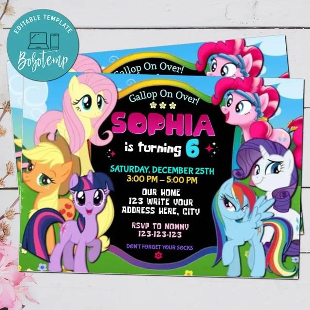 editable my little pony birthday invitation digital file