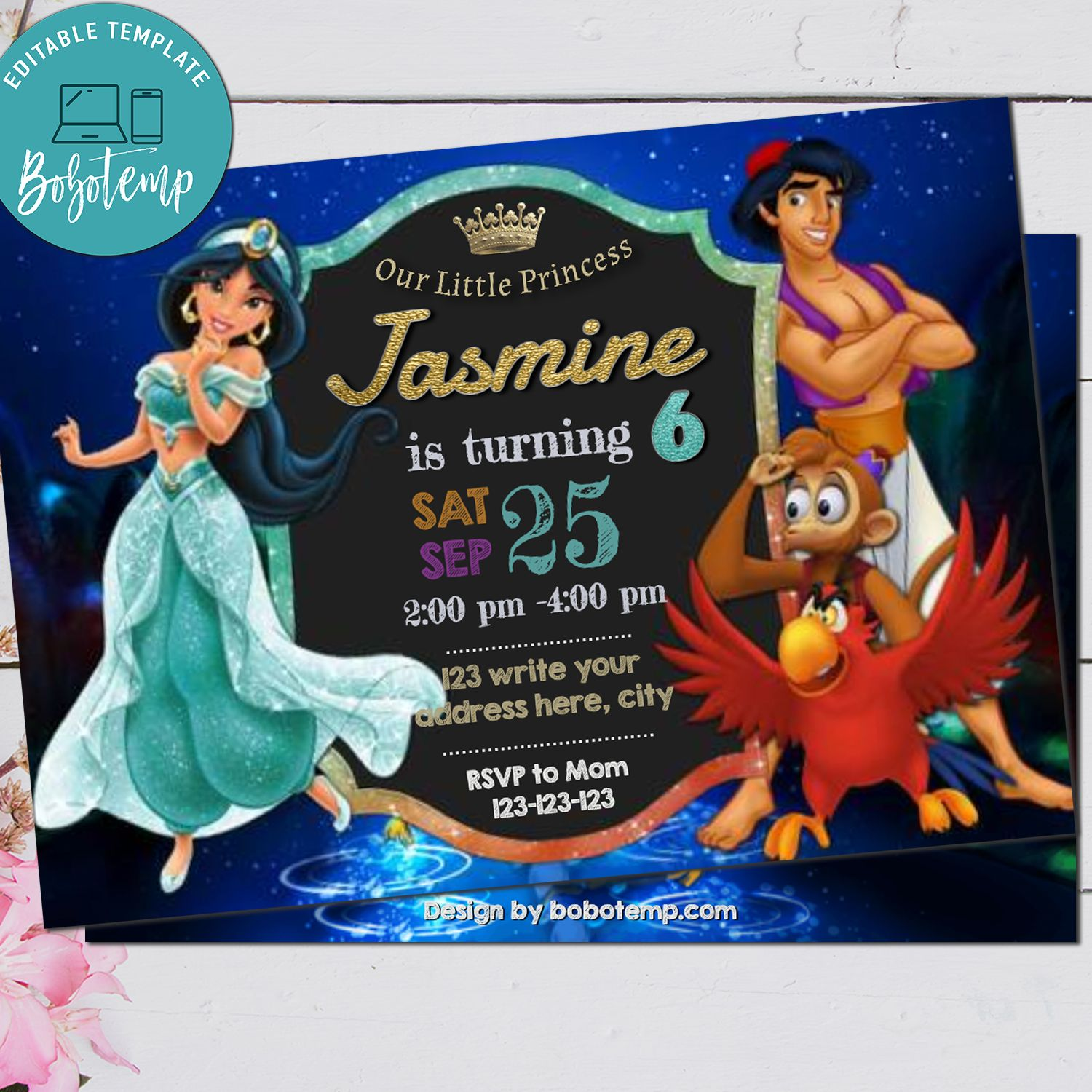 editable aladdin princess jasmine birthday party invitation diy