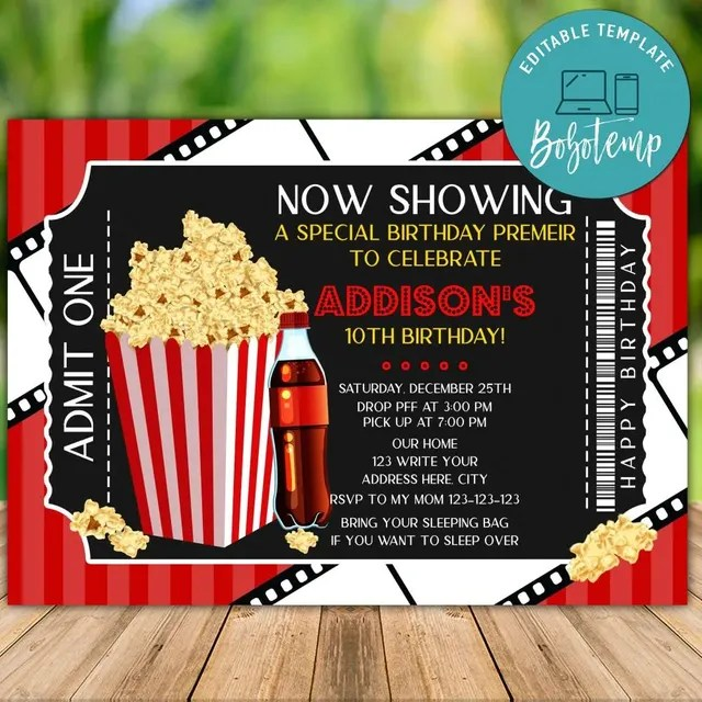 printable movie night birthday ticket invitation instant download