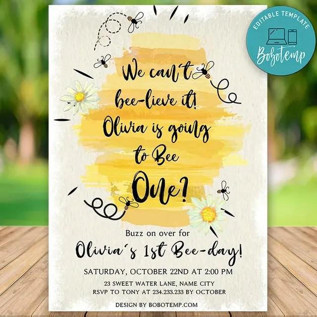 printable honey bee 1st birthday invitation instant download