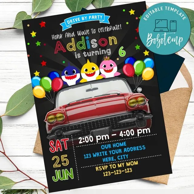 baby shark drive by birthday parade invitation diy