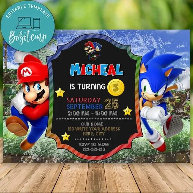 editable super mario bros and sonic birthday invitation diy