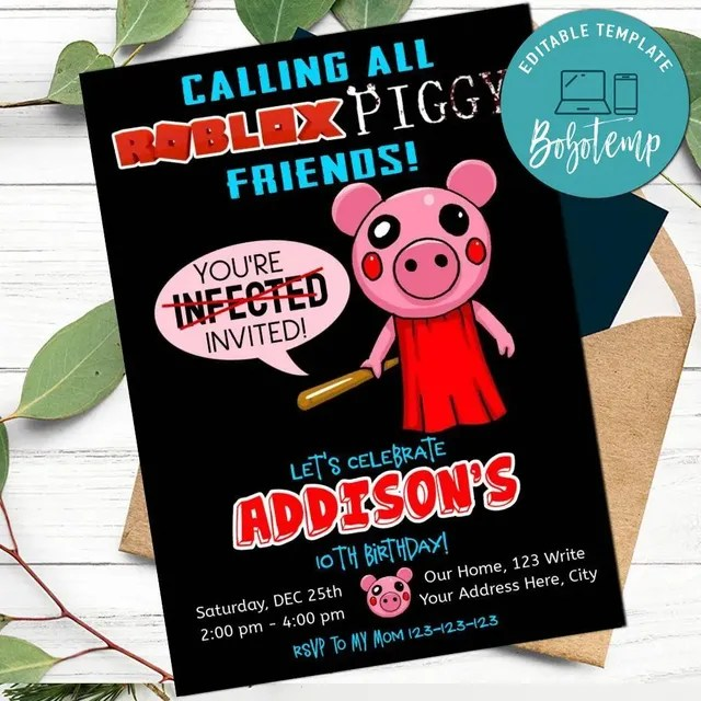 piggy roblox game birthday invitation template to print at home