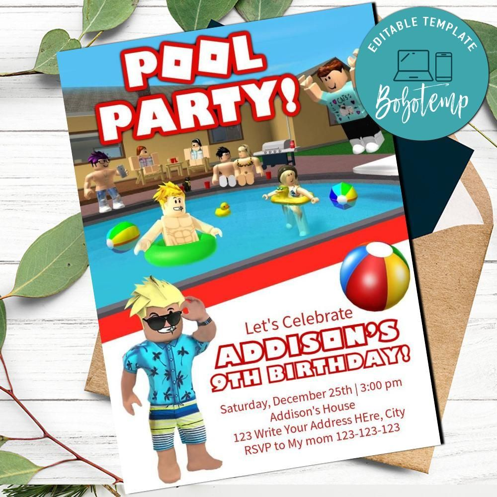 roblox pool party birthday invitation for boy printable diy