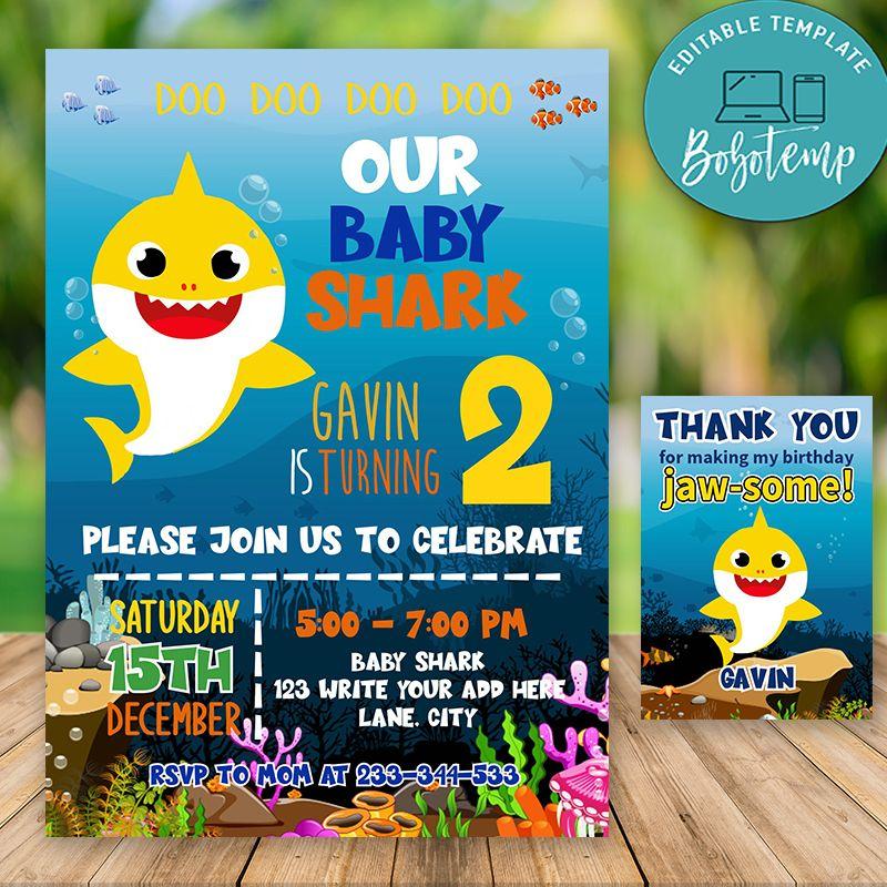baby shark birthday invitation girl or boy