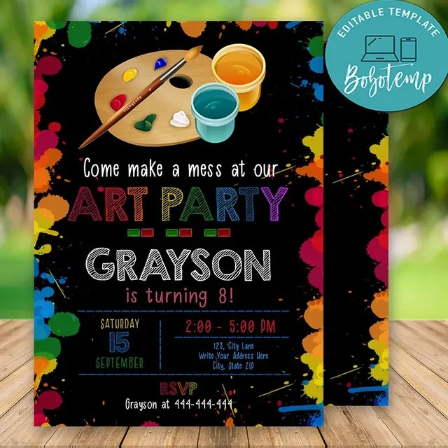 editable art party birthday invitations instant download