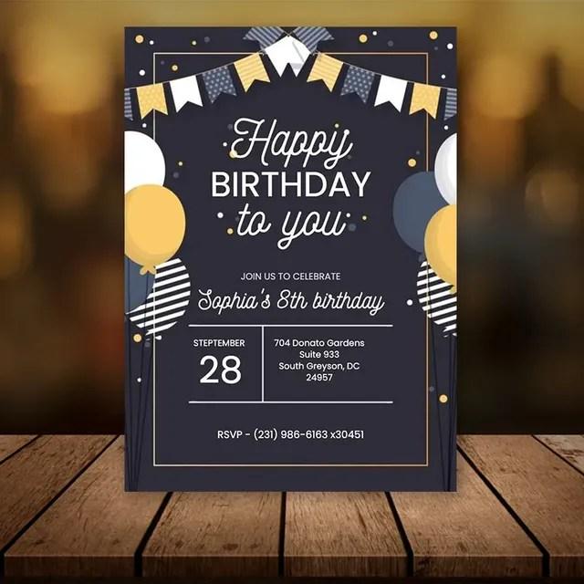 editable birthday invitation template flat style digital file