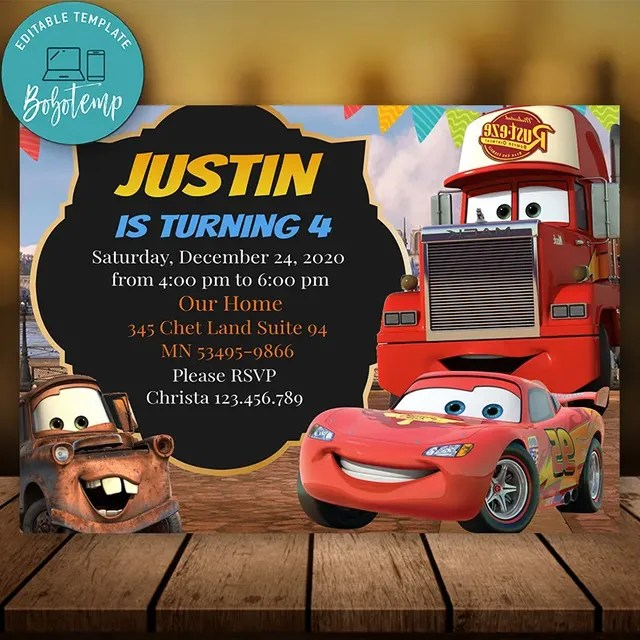 editable lightning mcqueen party invite instant download