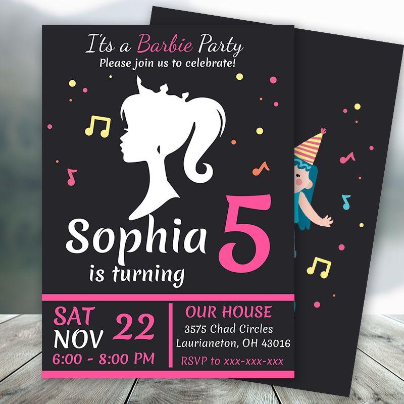 black barbie party invitation printable