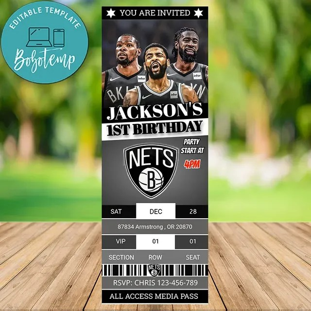 editable brooklyn nets sports ticket invitation instant download