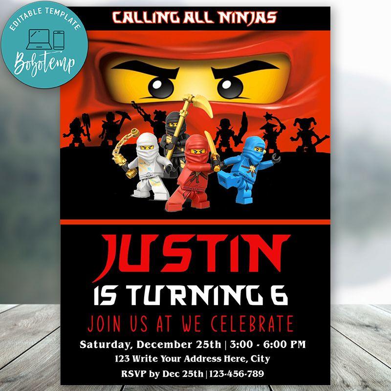 editable calling all ninjas lego ninjago birthday invitations diy