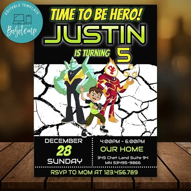 editable ben 10 party invitation instant download ben10 invites