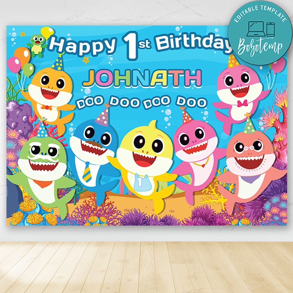 baby shark birthday party banner backdrop printable diy