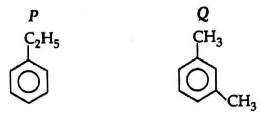 Compound having formula C8H10 forms two isomers P and Q. On