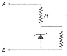 If the voltage between the terminals A and B is 17 V and zen