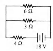 The total power dissipated in watt in the circuit shown