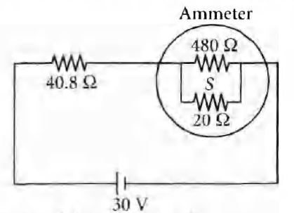 A circuit contains an ammeter, a battery of 30 V and a resi